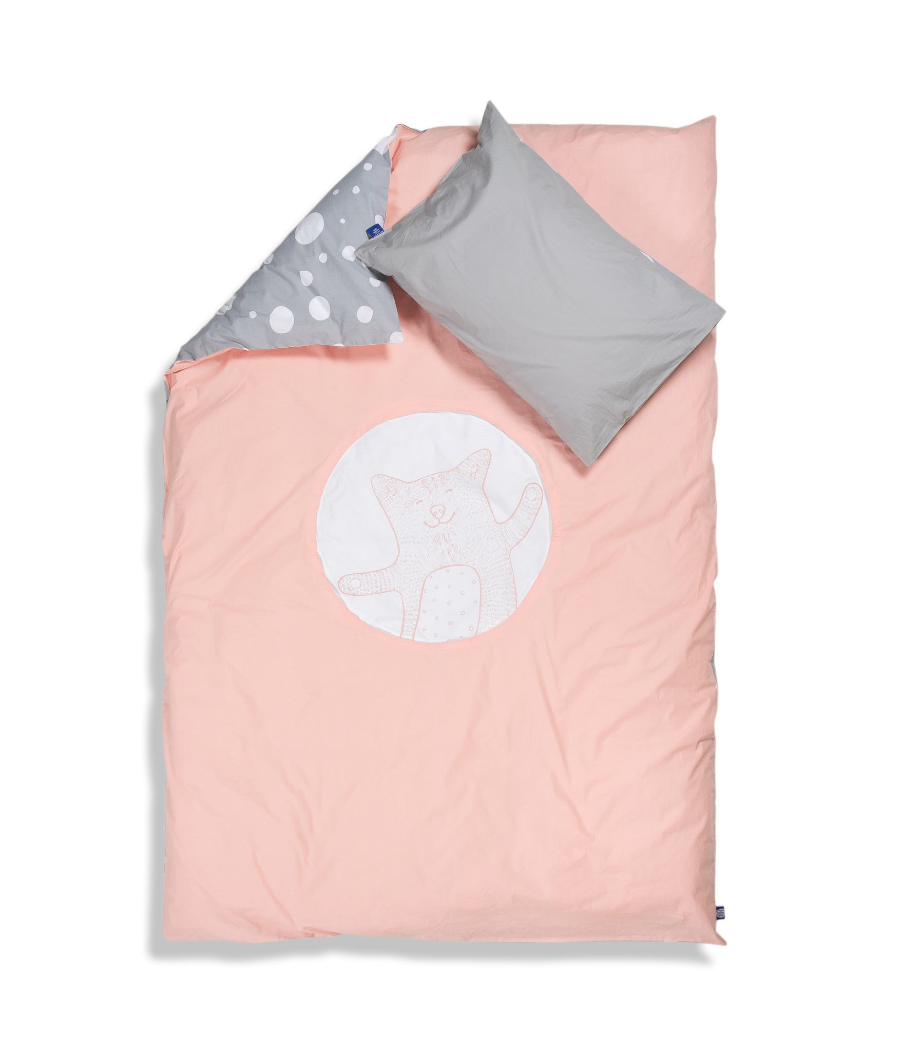 Organic cotton single bed set. Kids bedding. Grey pillow case and pink duvet cover with cat. Dotted pattern bed linen. Customised bedding.
