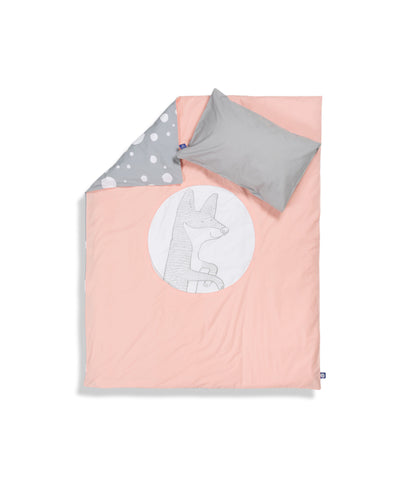 Organic cotton cot bed set. Baby bedding. Grey pillow case and pink duvet cover with fox. Dotted pattern bed linen. Customised bedding.