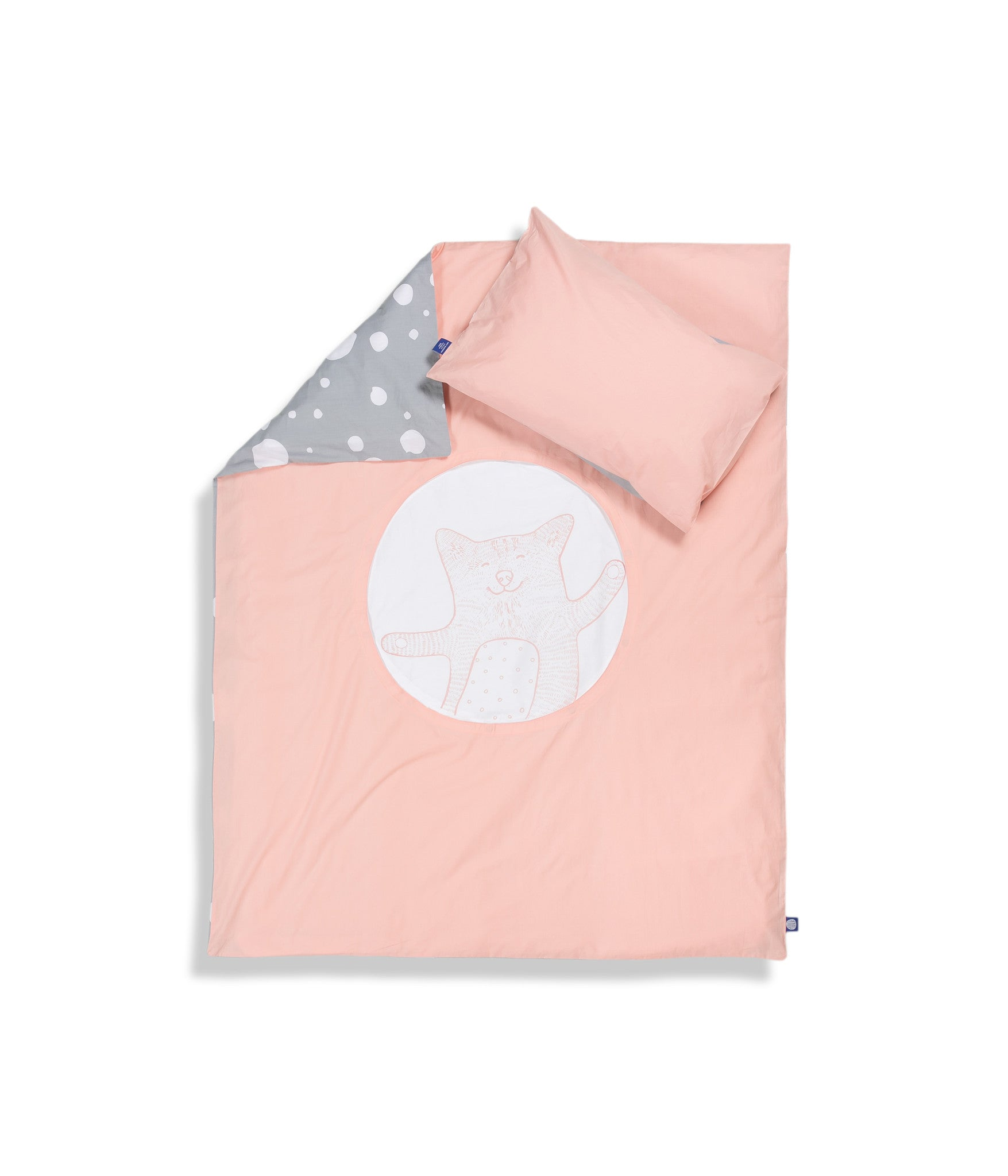 Organic cotton pink cot bed set. Baby bedding. Grey and pink colours. Pillow case and duvet cover. Dotted pattern bed linen. Main character cat Shoo.