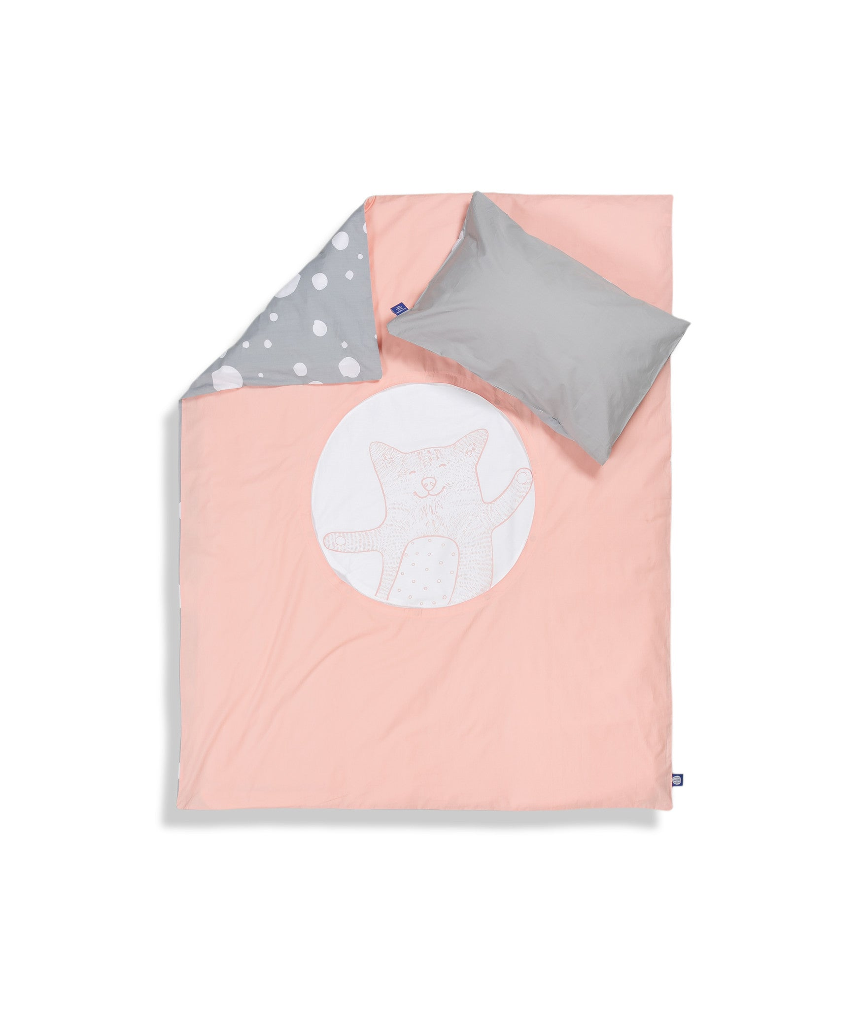 Organic cotton cot bed set. Baby bedding. Grey pillow case and pink duvet cover with cat. Dotted pattern bed linen. Customised bedding.