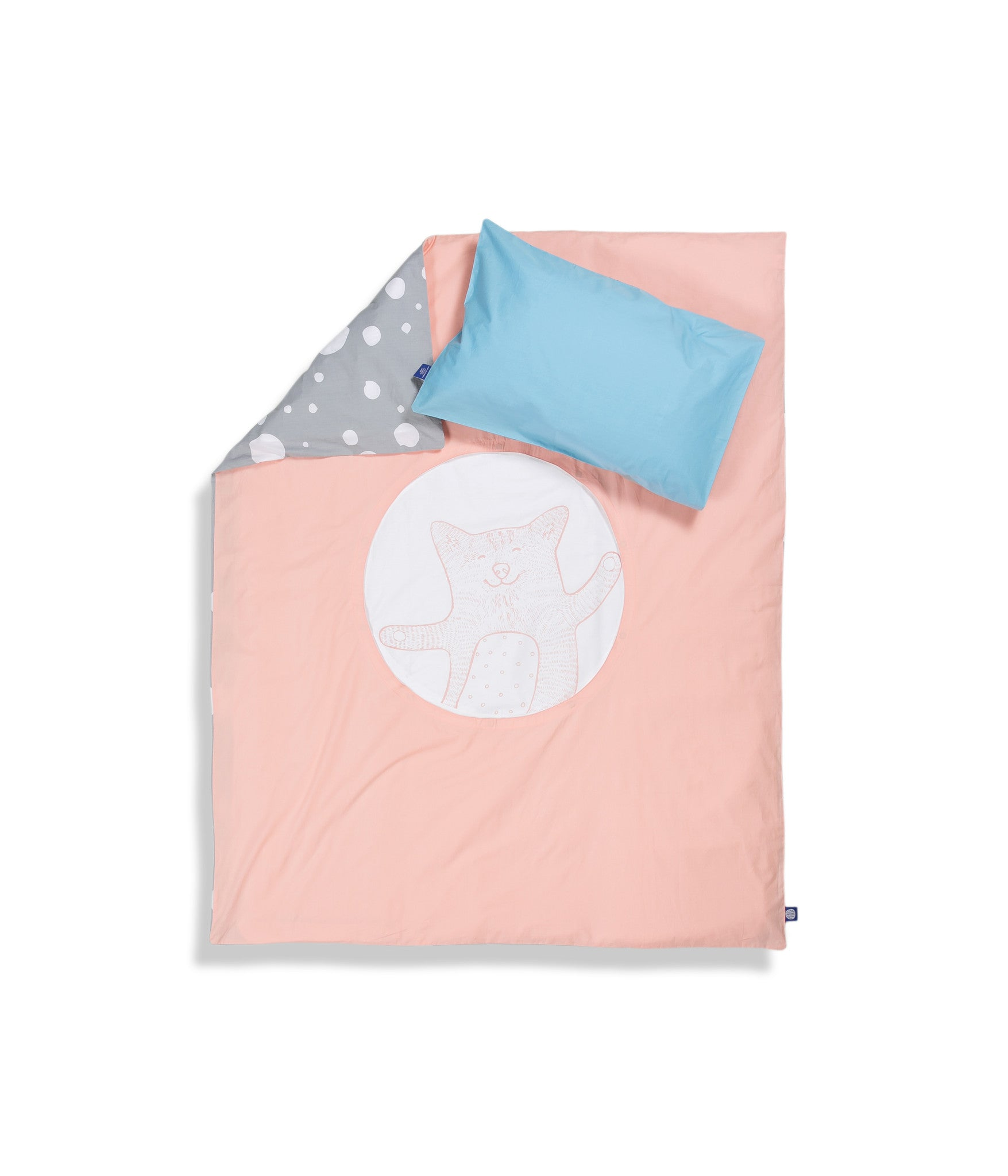 Organic cotton cot bed set. Baby bedding. Blue pillow case and pink duvet cover with cat. Dotted pattern bed linen. Customised bedding.