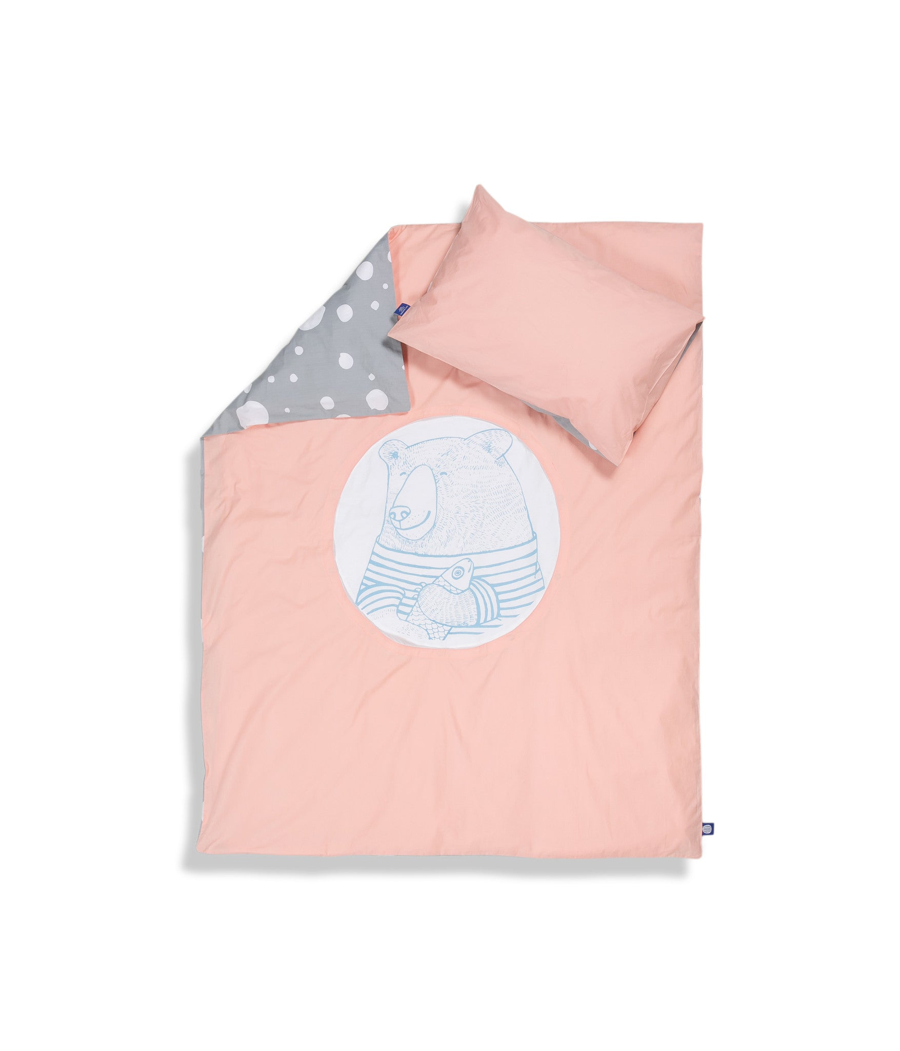 Organic cotton cot bed set. Baby bedding. Pink pillow case and pink duvet cover with bear. Dotted pattern bed linen. Customised bedding.