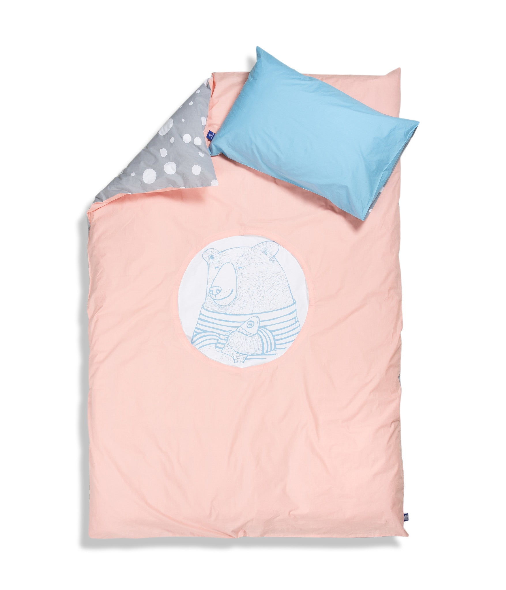 Organic cotton single bed set. Kids bedding. Blue pillow case and pink duvet cover with bear. Dotted pattern bed linen. Customised bedding.