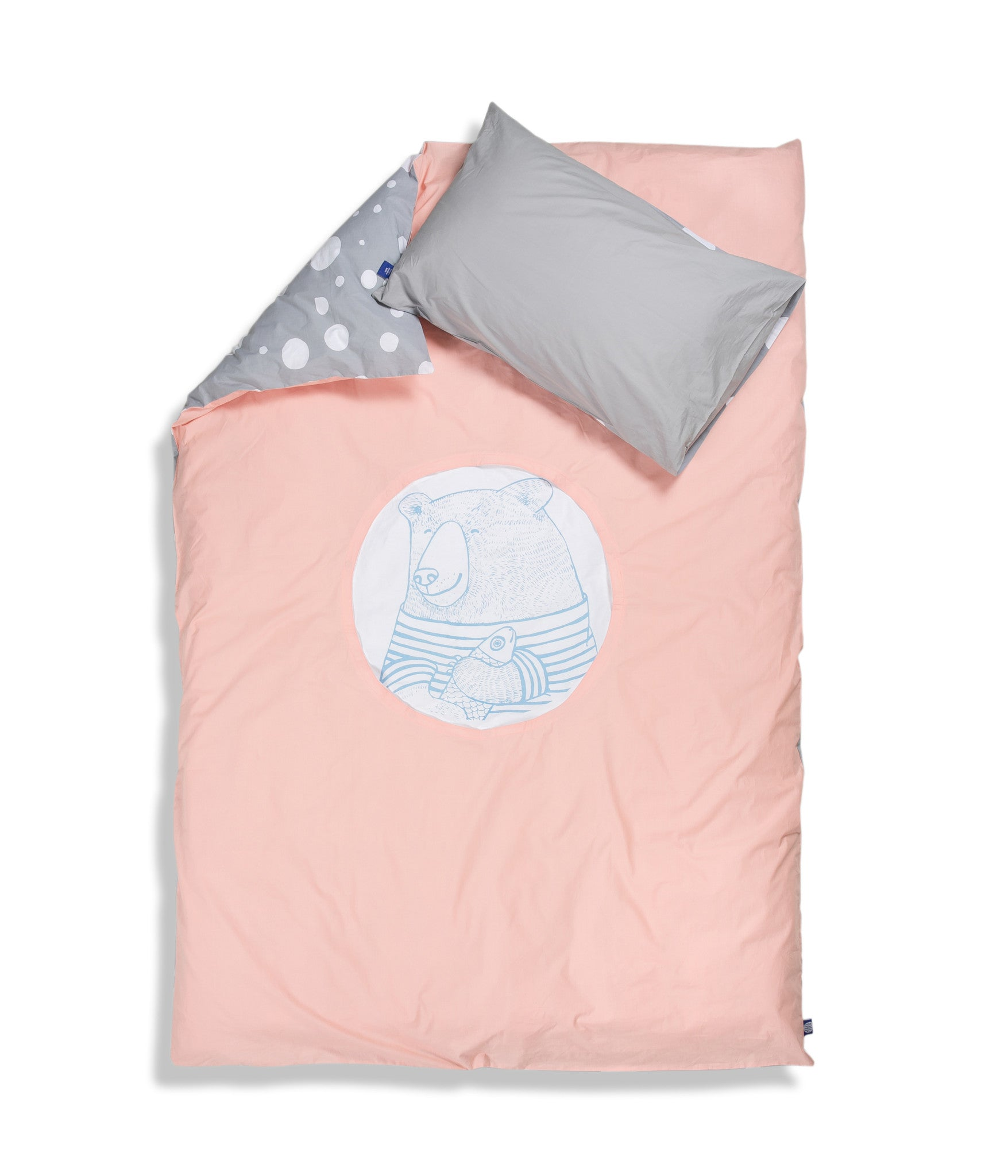 Organic cotton single bed set. Kids bedding. Grey pillow case and pink duvet cover with bear. Dotted pattern bed linen. Customised bedding.