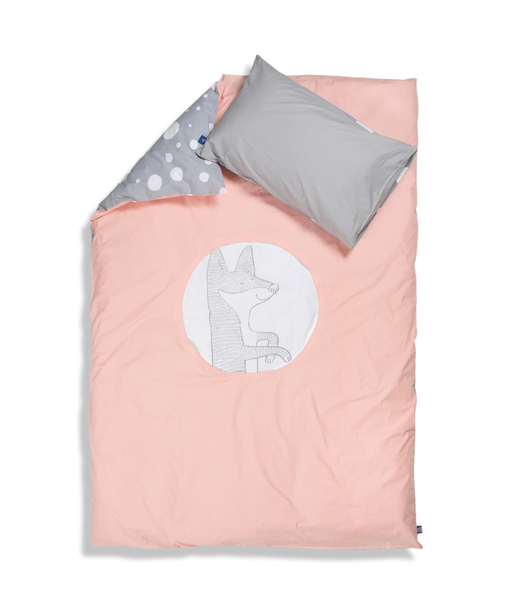 Organic cotton single bed set. Kids bedding. Grey pillow case and pink duvet cover with fox. Dotted pattern bed linen. Customised bedding.