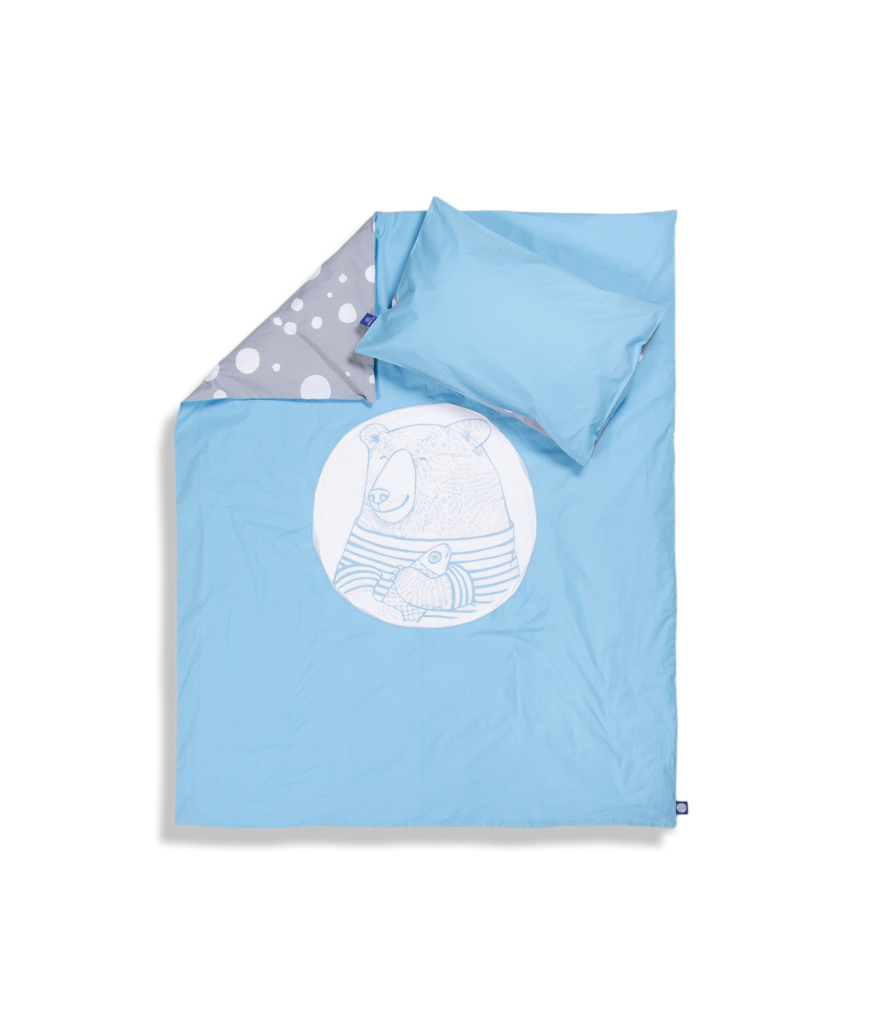 Organic cotton blue cot bed set. Baby bedding. Grey and blue colours. Pillow case and duvet cover. Dotted pattern bed linen. Main character bear Moony.