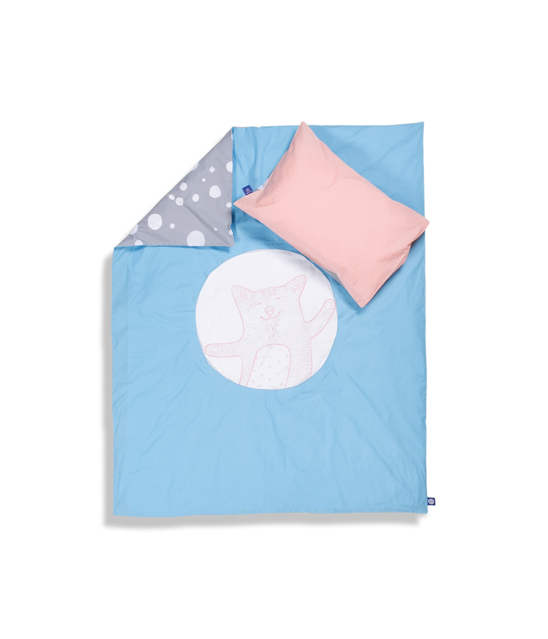 Organic cotton cot bed set. Baby bedding. Pink pillow case and blue duvet cover with cat. Dotted pattern bed linen. Customised bedding.