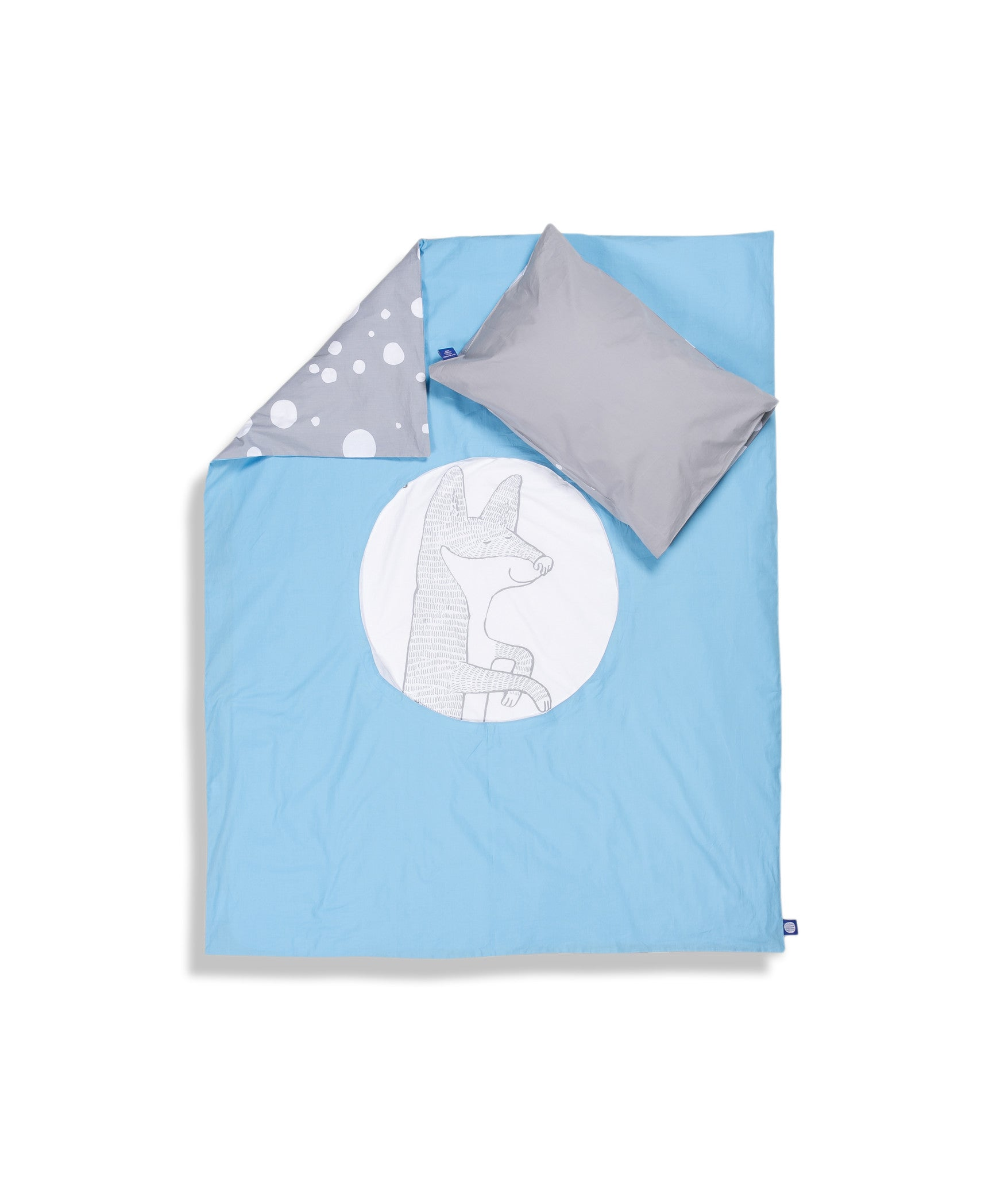 Organic cotton cot bed set. Baby bedding. Grey pillow case and blue duvet cover with fox. Dotted pattern bed linen. Customised bedding.
