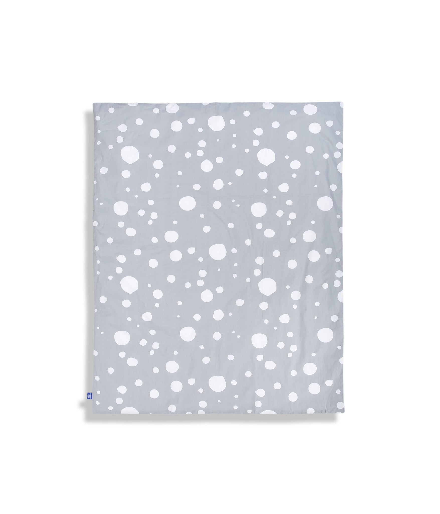 Organic cotton cot bed duvet cover. Baby bedding. Grey colour. Dotted pattern bed linen.