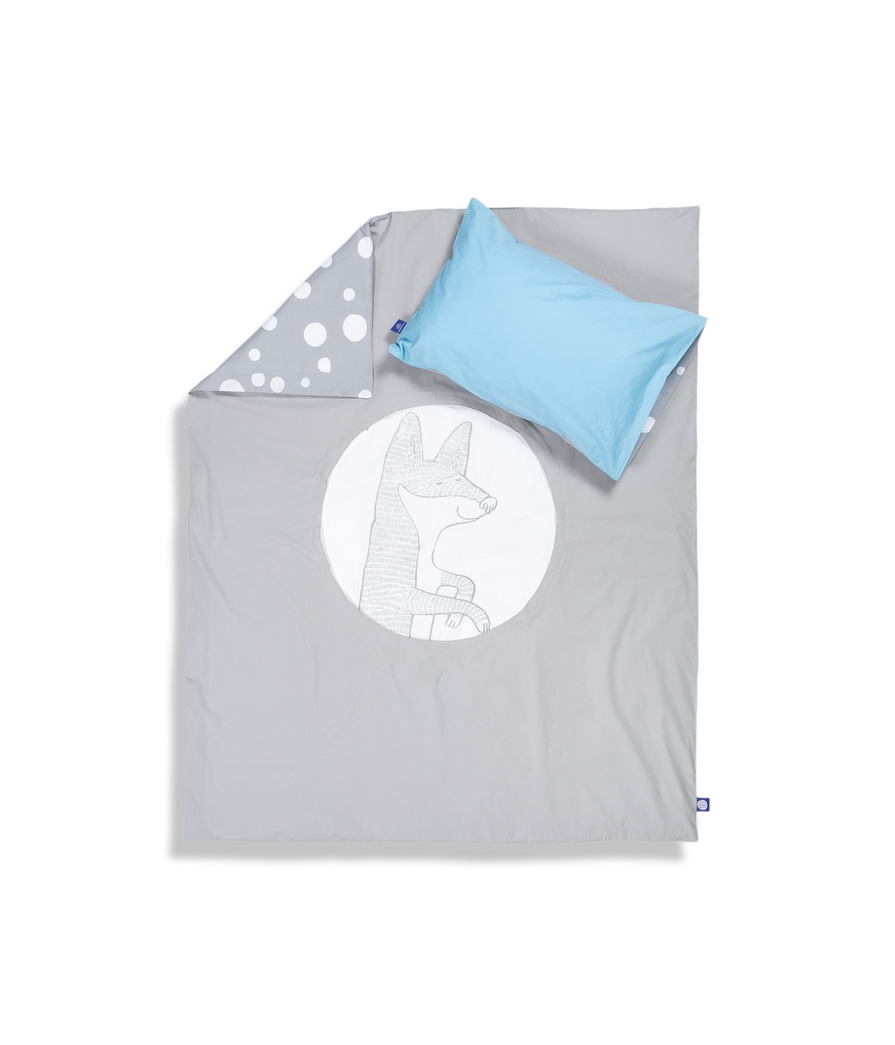 Organic cotton cot bed set. Baby bedding. Blue pillow case and grey duvet cover with fox. Dotted pattern bed linen. Customised bedding.