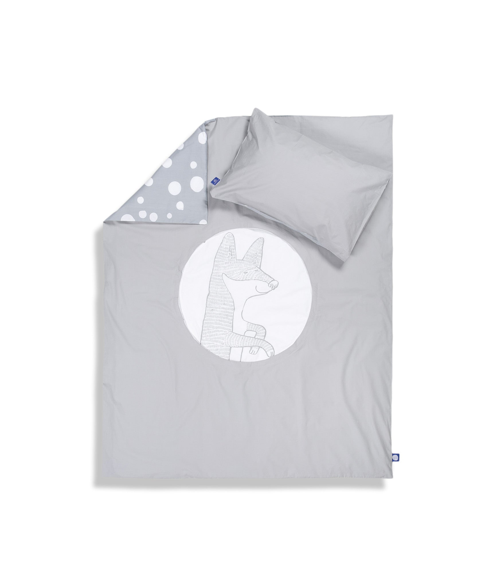 Organic cotton grey cot bed set. Baby bedding. Grey colour. Pillow case and duvet cover. Dotted pattern bed linen. Main character fox Luna.