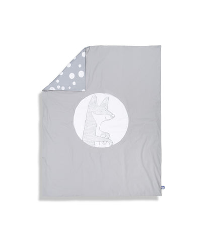 Organic cotton grey cot bed duvet cover. Baby bedding. Grey colour. Dotted pattern bed linen. Main character fox Luna.