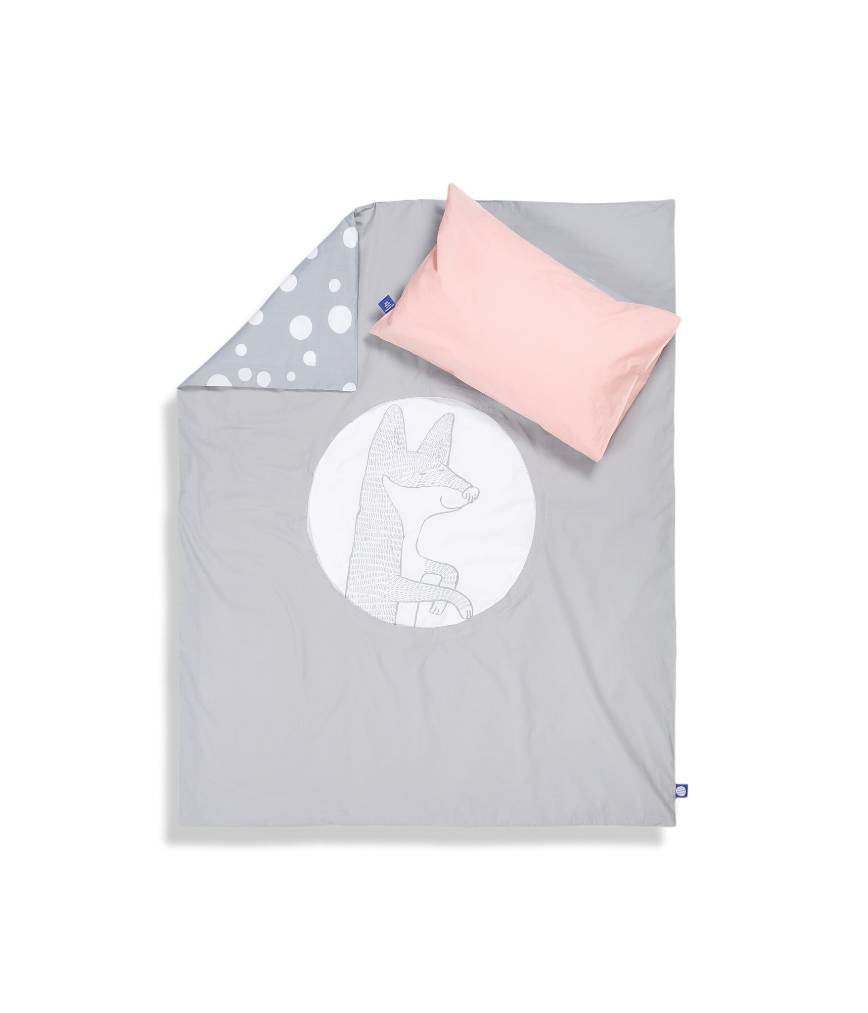 Organic cotton cot bed set. Baby bedding. Pink pillow case and grey duvet cover with fox. Dotted pattern bed linen. Customised bedding.