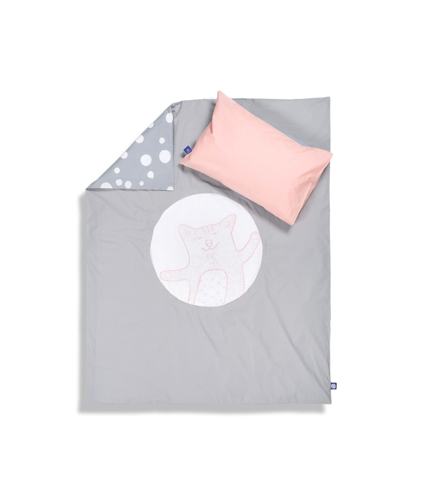 Organic cotton cot bed set. Baby bedding. Pink pillow case and grey duvet cover with cat. Dotted pattern bed linen. Customised bedding.