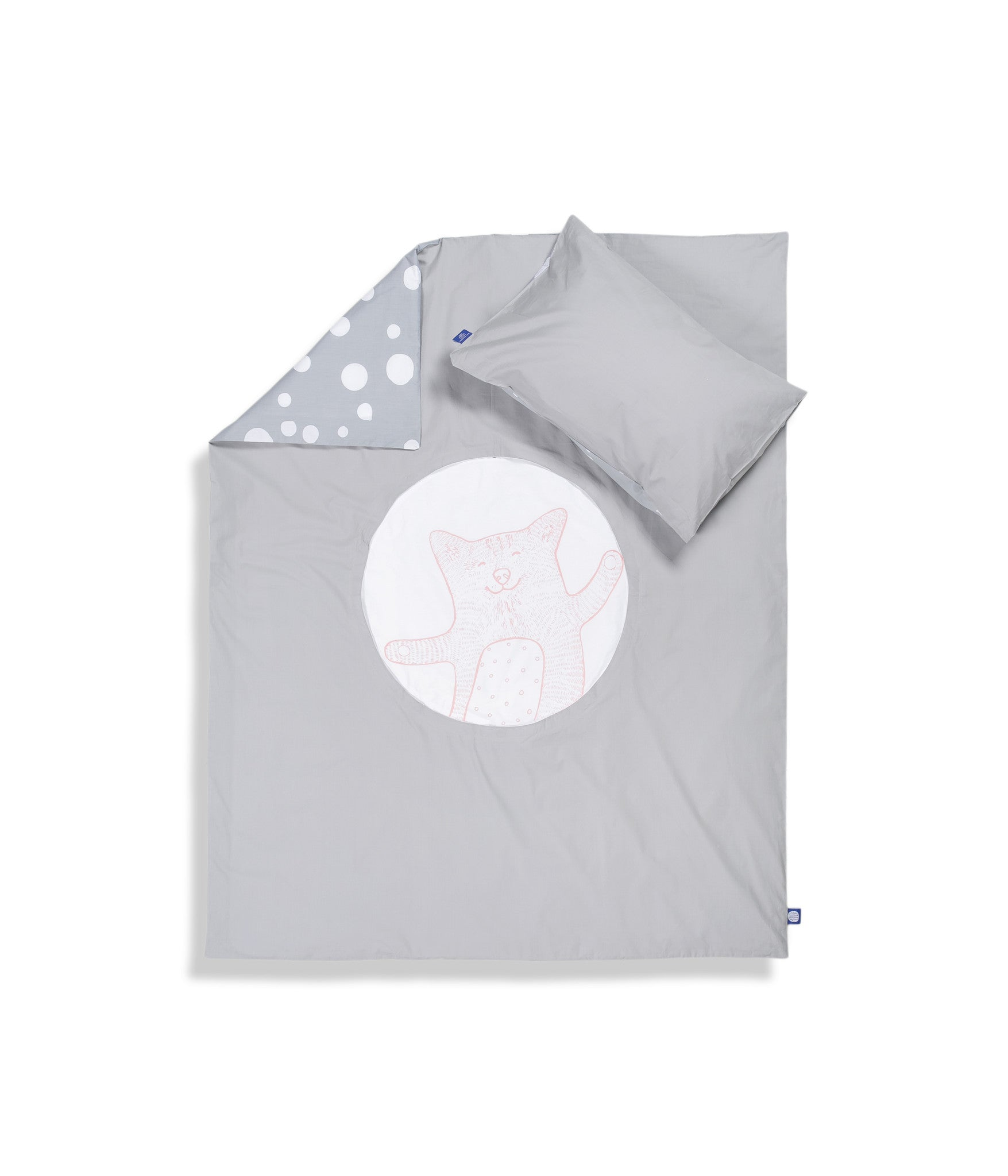Organic cotton cot bed set. Baby bedding. Grey pillow case and grey duvet cover with cat. Dotted pattern bed linen. Customised bedding.
