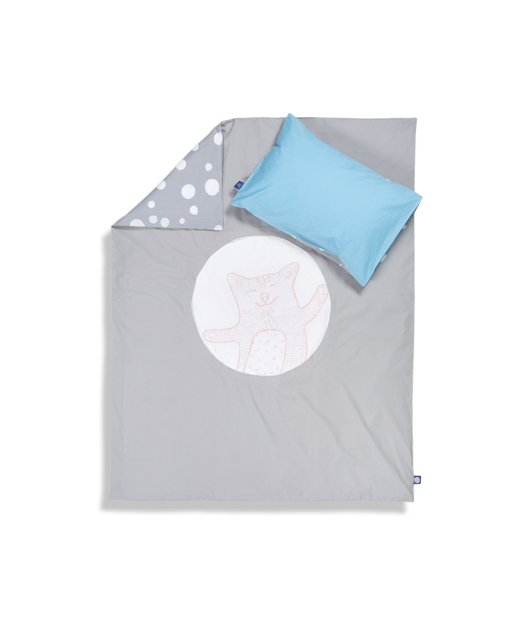 Organic cotton cot bed set. Baby bedding. Blue pillow case and grey duvet cover with cat. Dotted pattern bed linen. Customised bedding.