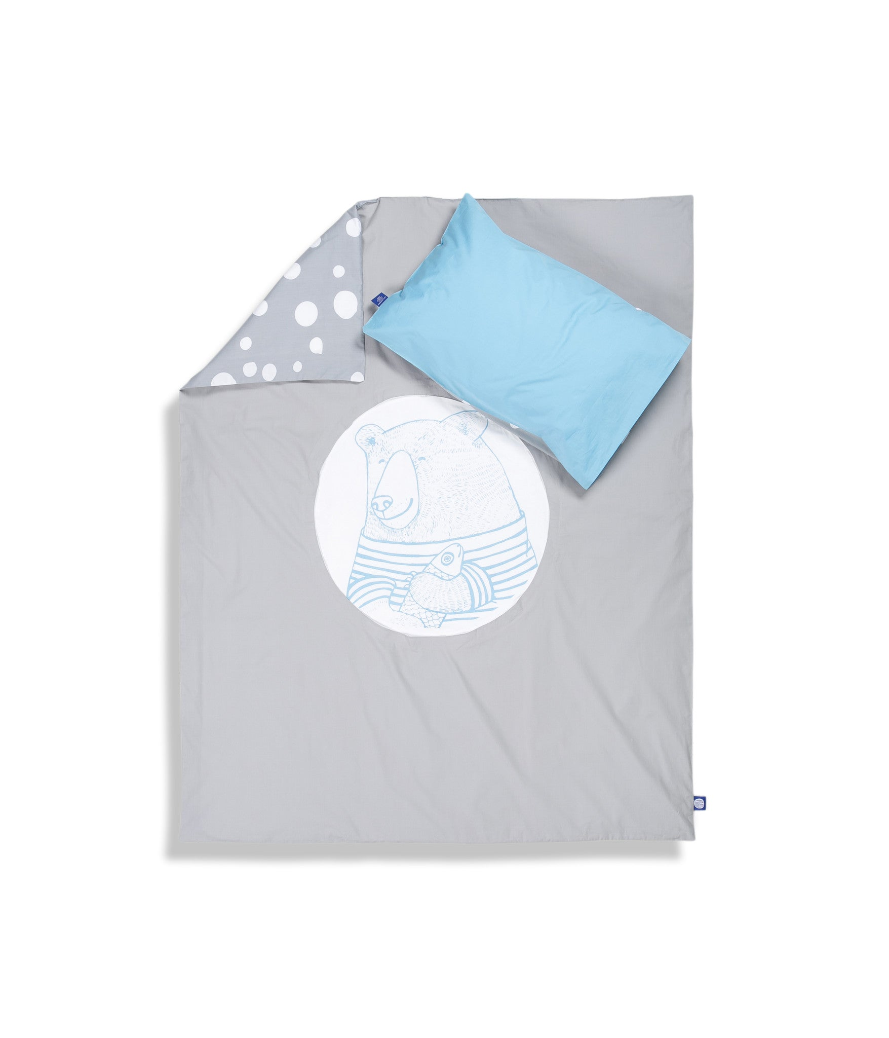 Organic cotton cot bed set. Baby bedding. Blue pillow case and grey duvet cover with bear. Dotted pattern bed linen. Customised bedding.