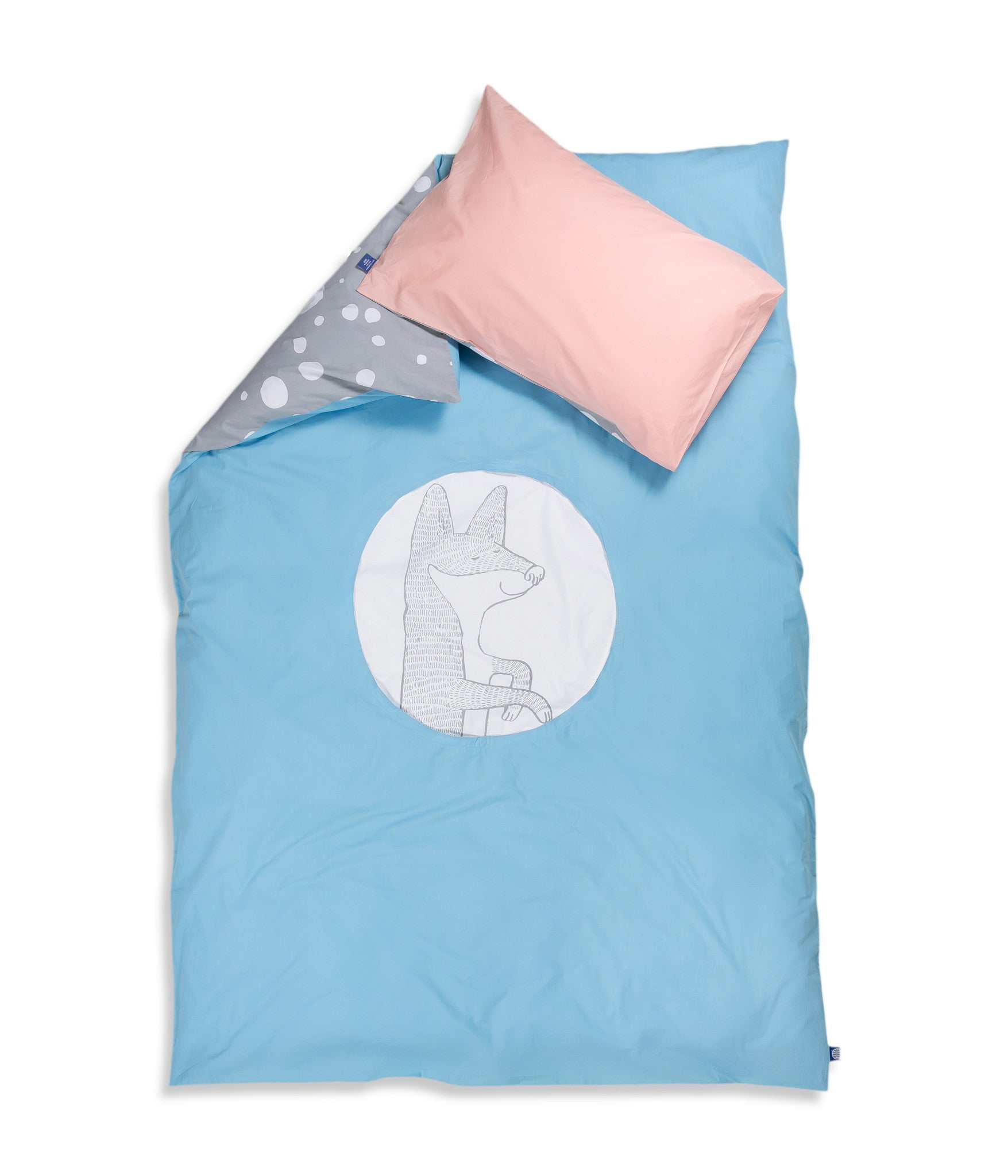 Organic cotton single bed set. Kids bedding. Pink pillow case and blue duvet cover with fox. Dotted pattern bed linen. Customised bedding.
