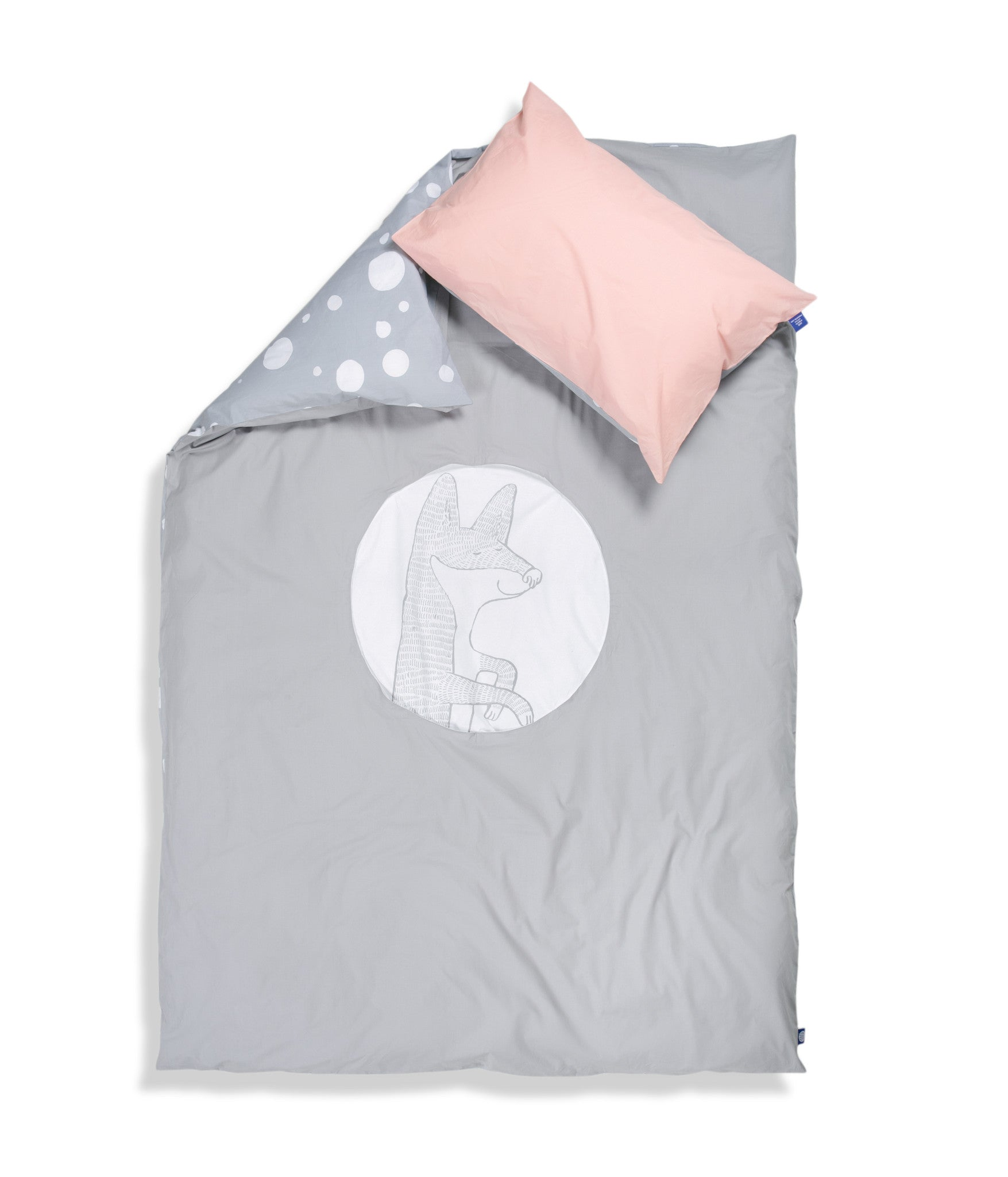 Organic cotton single bed set. Kids bedding. Pink pillow case and grey duvet cover with fox. Dotted pattern bed linen. Customised bedding.