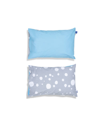 Organic cotton blue cot bed pillow case. Baby bedding. Grey and blue colours. Dotted pattern bed linen.