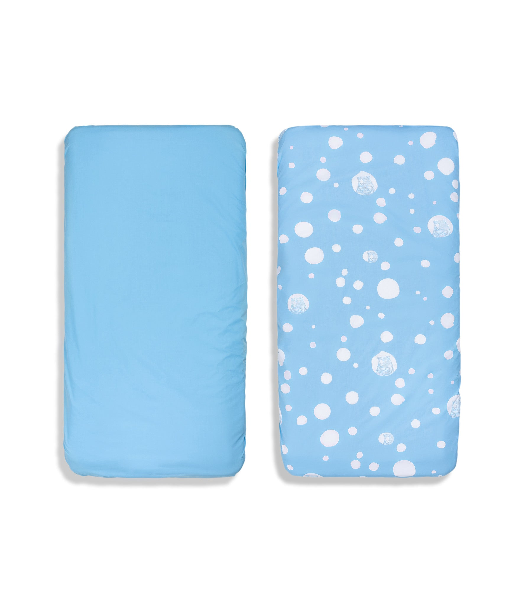 Organic cotton blue cot bed fitted sheets. Baby bedding. Blue colour. Dotted pattern bed linen. Main character bear Moony.