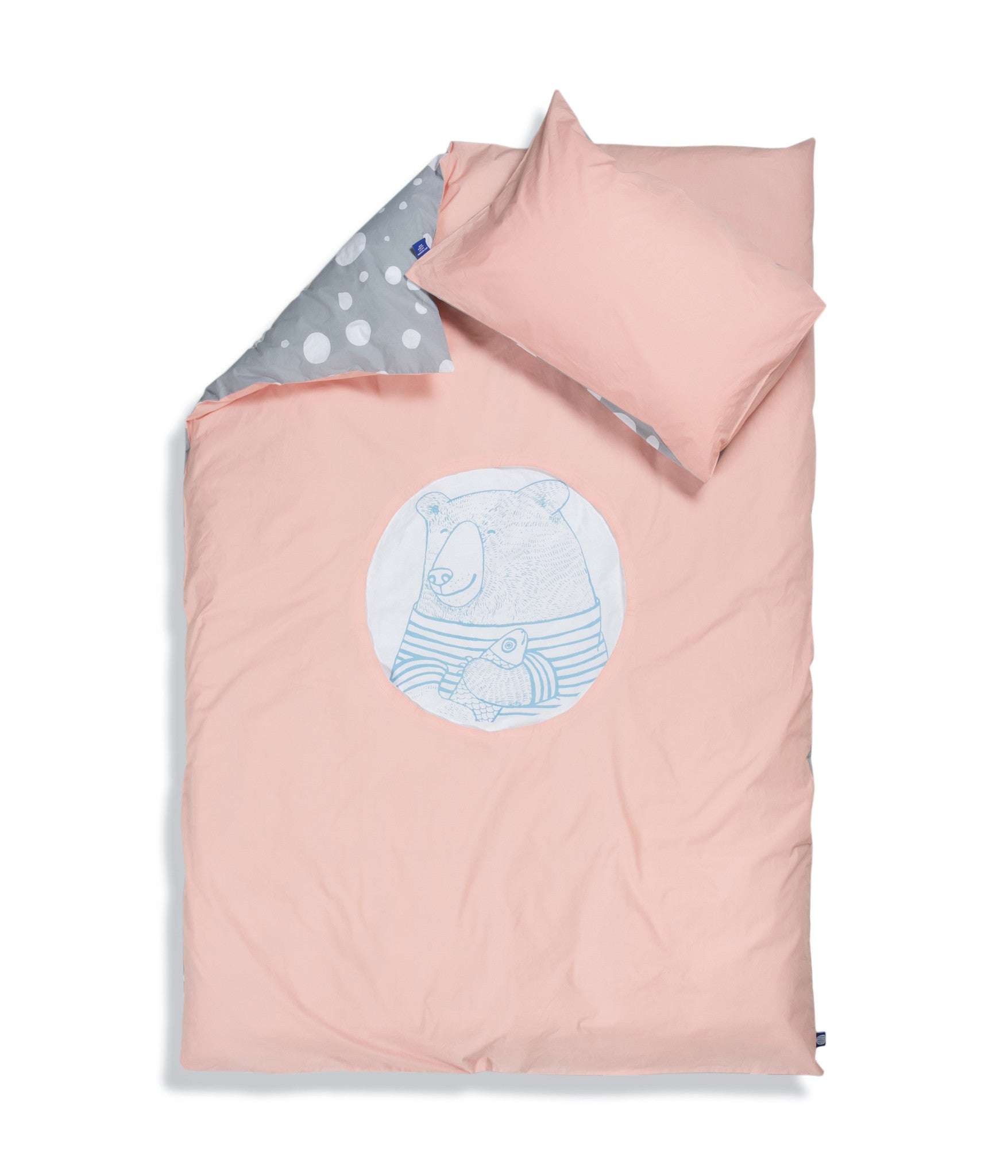 Organic cotton single bed set. Kids bedding. Pink pillow case and pink duvet cover with bear. Dotted pattern bed linen. Customised bedding.