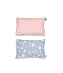 Organic cotton pink cot bed pillow case. Baby bedding. Grey and pink colours. Dotted pattern bed linen.