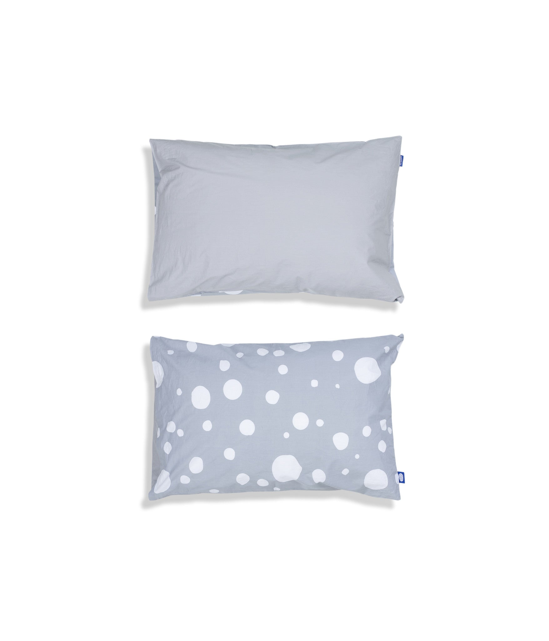 Organic cotton grey cot bed pillow case. Baby bedding. Grey colour. Dotted pattern bed linen.