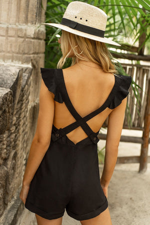 Sophia Playsuit - Black - Three Nines Boutique