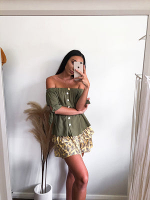 Olive Tree Off Shoulder Top - Three Nines Boutique