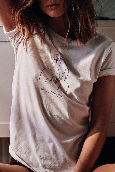 Pisces tee // White - Three Nines Boutique
