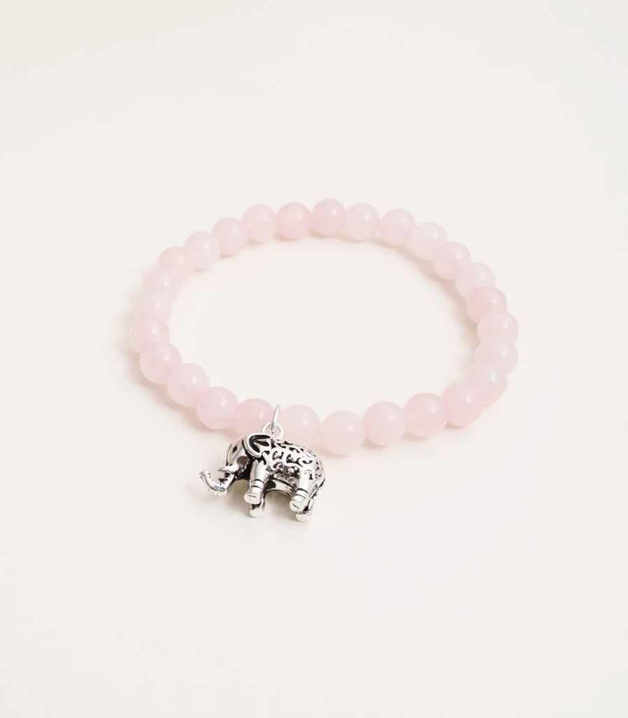 Rose Quartz with Elephant Charm - mindbeads