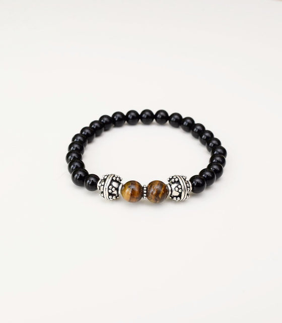 Shakti Onyx and Tiger's Eye Bracelet - mindbeads