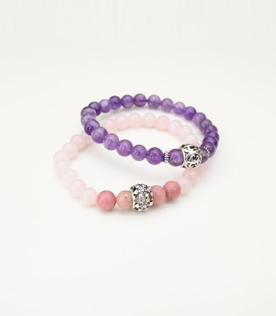 Shakti Rose Quartz and Amethyst Bracelets - mindbeads