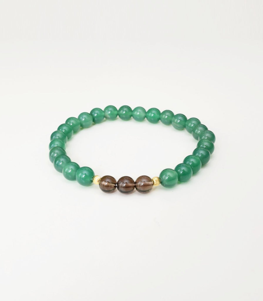 Green Agate and Smoky Quart Bracelet - mindbeads