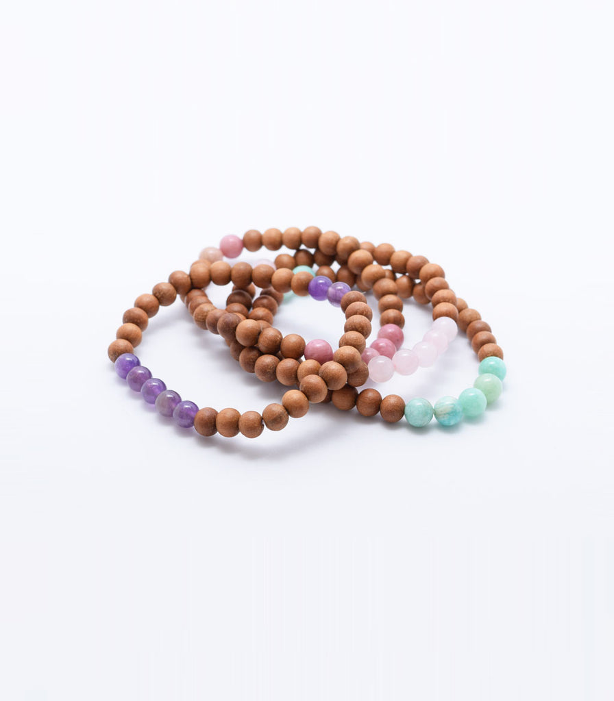 Rose Quartz and Sandalwood Bracelet - mindbeads