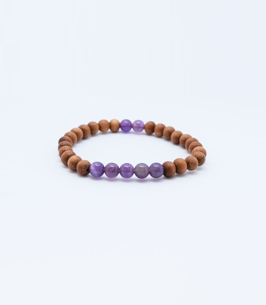 Amethyst and Sandalwood Bracelet - mindbeads
