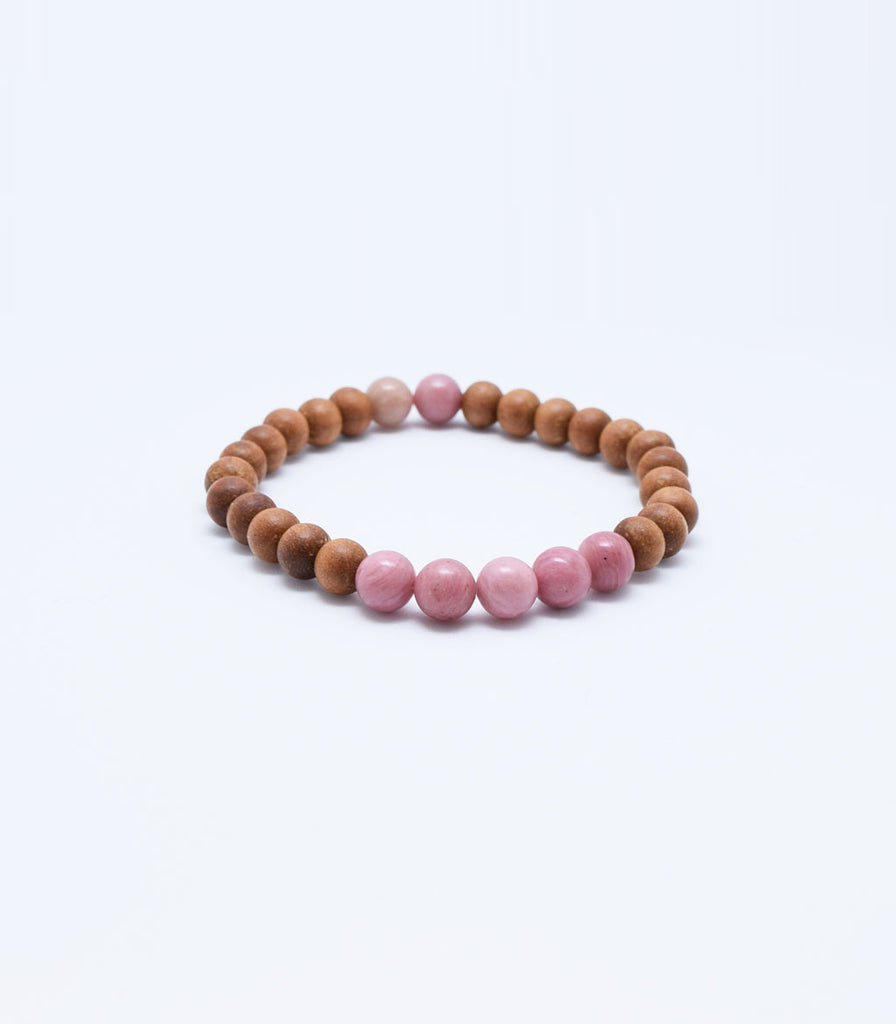 Rhodonite and Sandalwood Bracelet - mindbeads