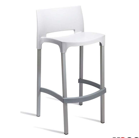 High bar stool white finish