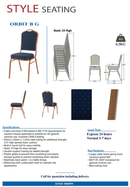 Orbit Blue Stacking chair specification