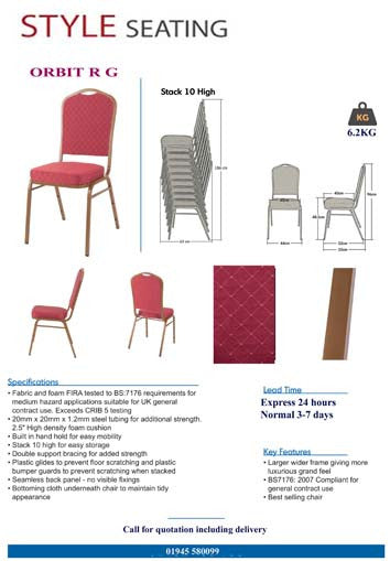 Orbit Red Stacking chair specification
