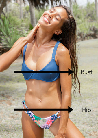 Measurement Points for LAYA bikini Sizing
