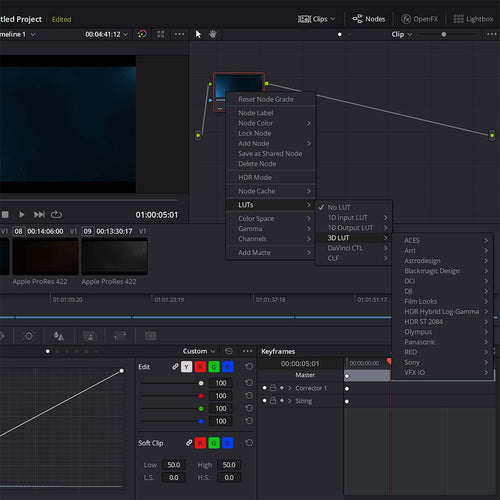 apply a lut in davinci resolve