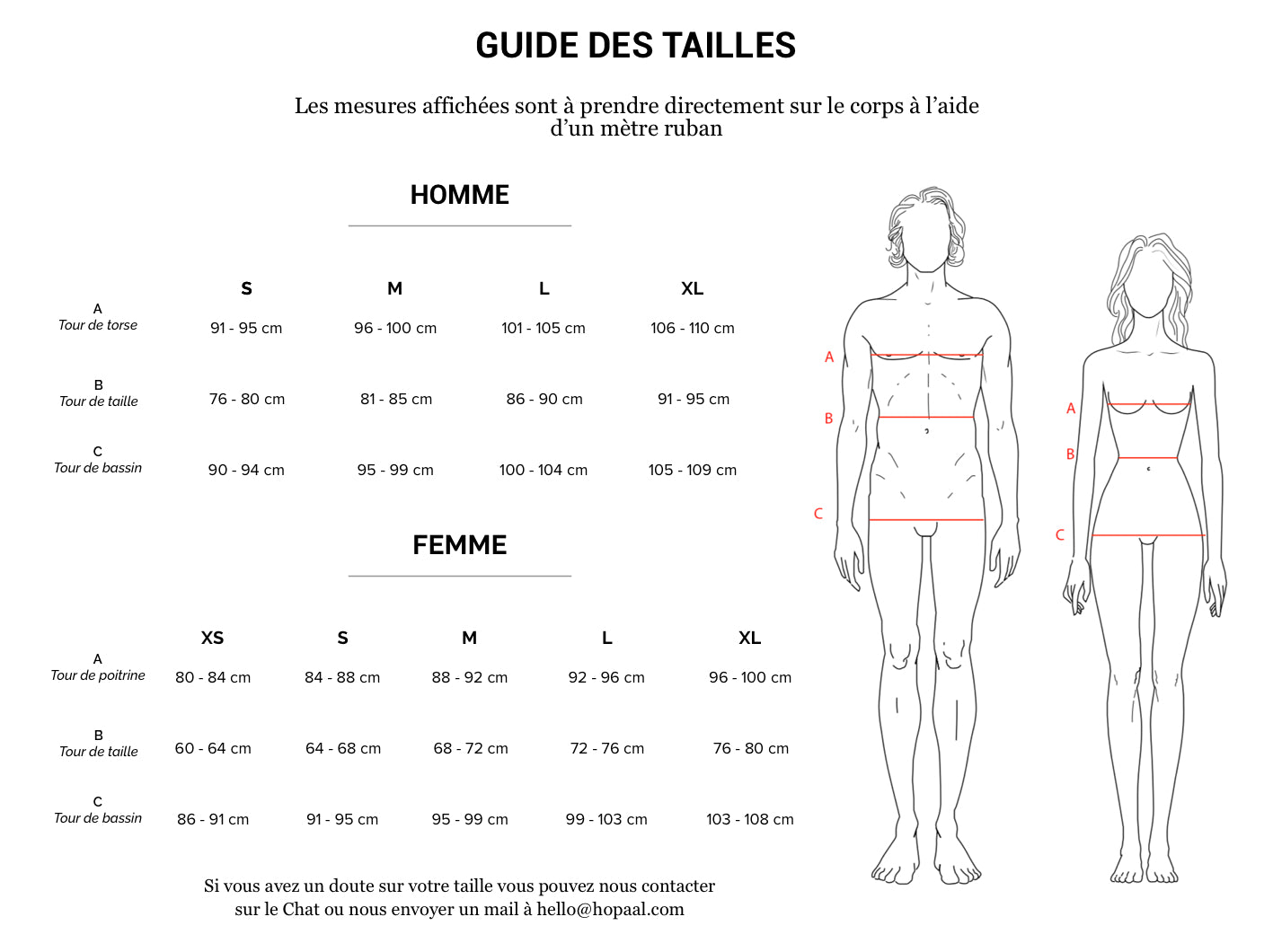 guide des tailles Hopaal