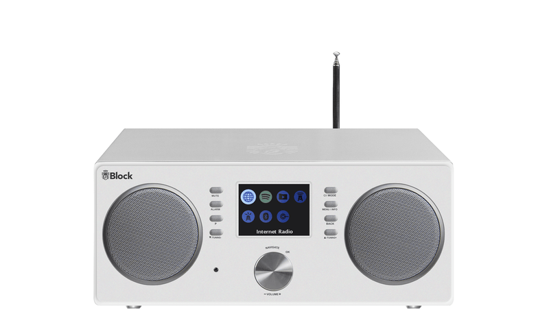 block All-In-One mit Lautsprecher weiss Block CR-20 Internetradio + DAB+ FM