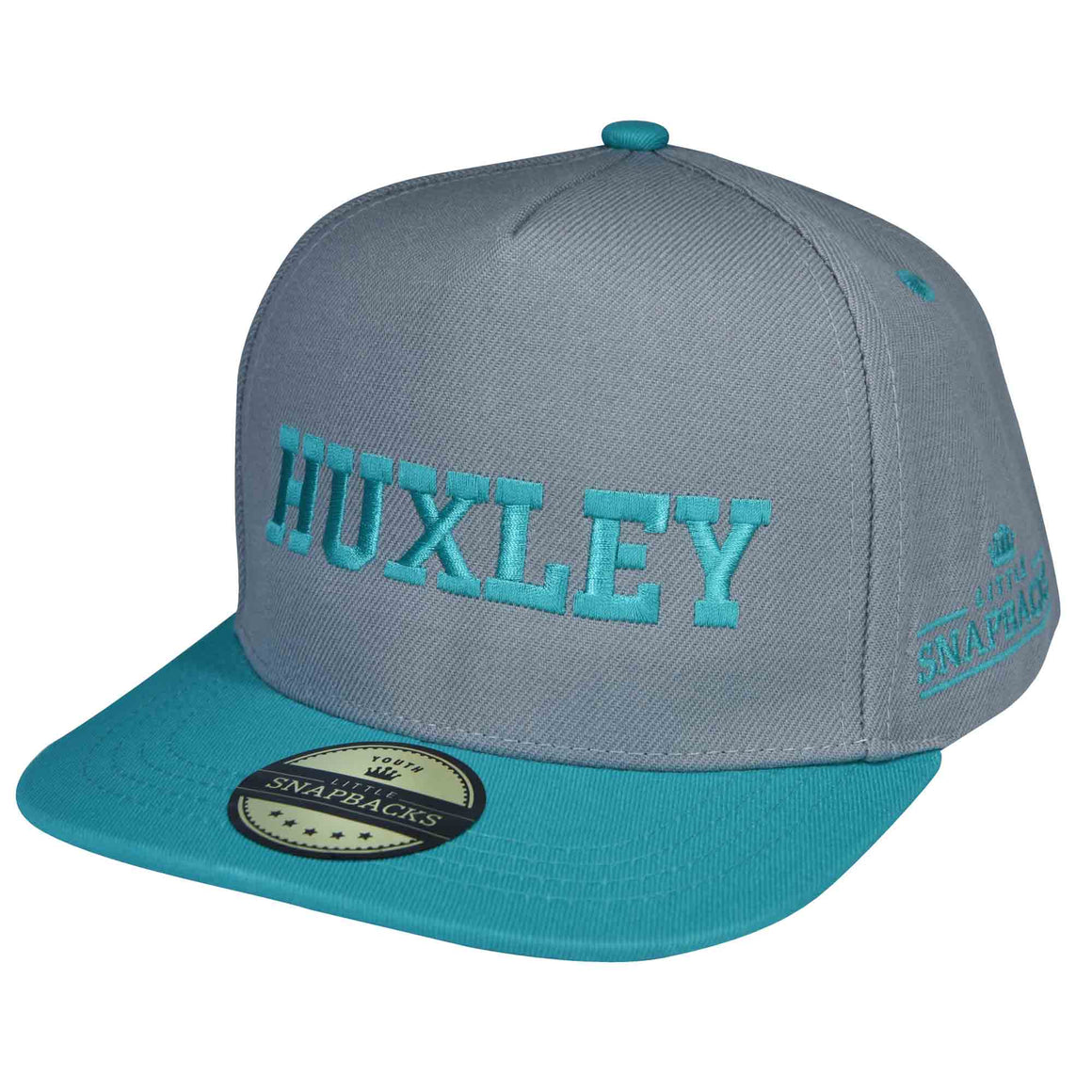 Little Snapbacks Grey & Aqua Snapback - Aqua Thread