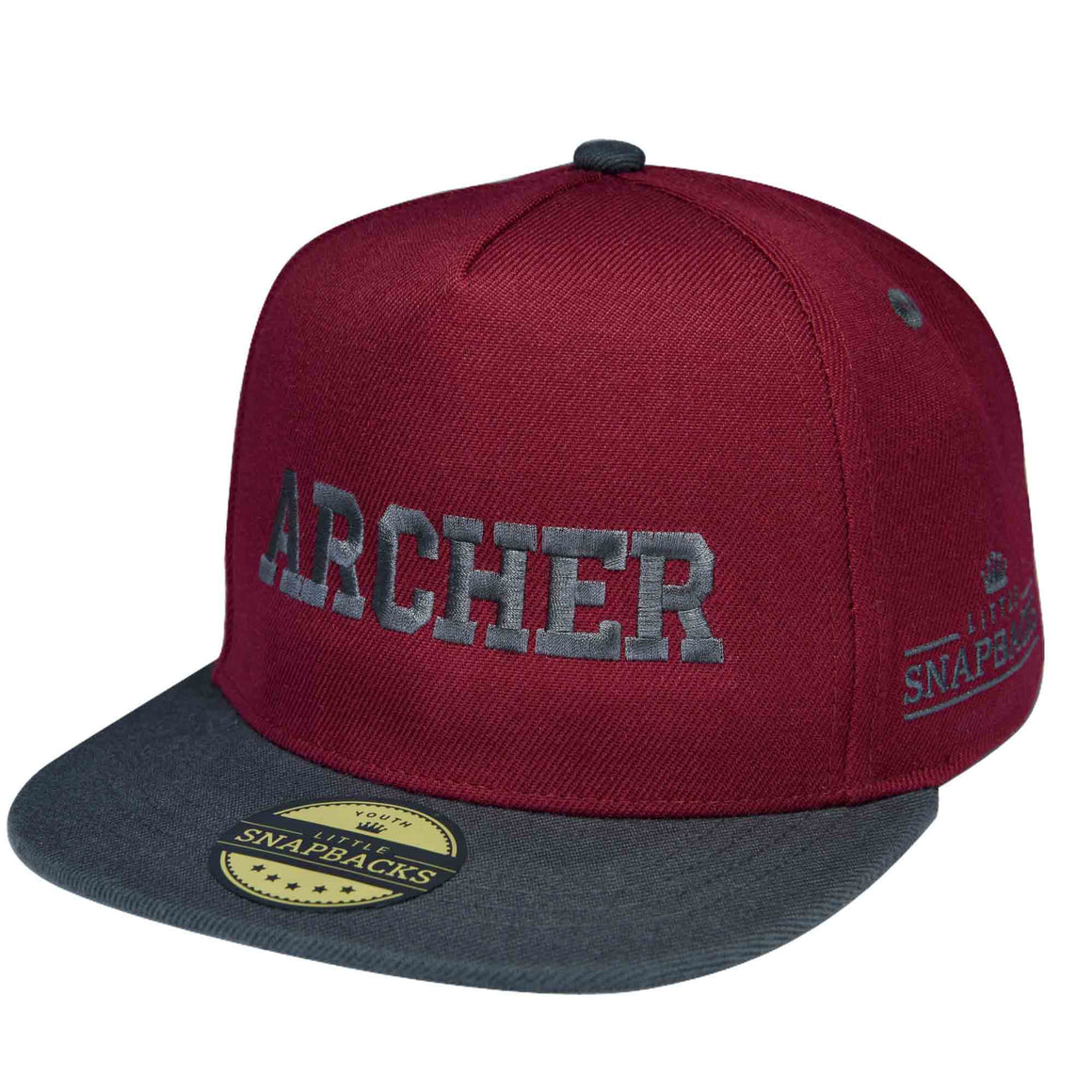 Little Snapbacks Burgundy Snapback, Charcoal Thread