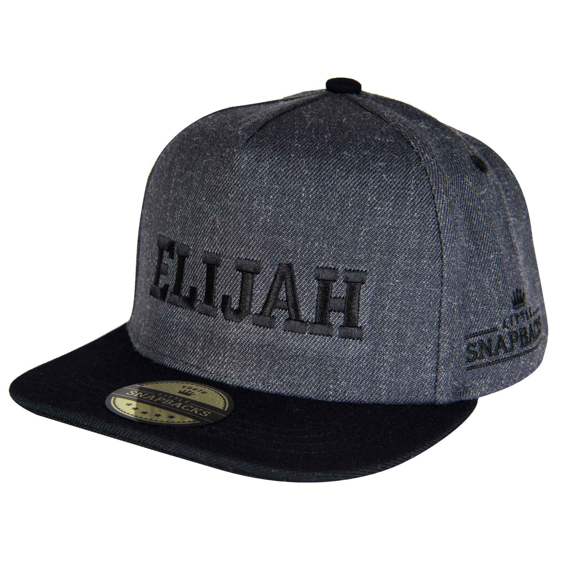 Little Snapbacks Charcoal Snapback, Black Thread