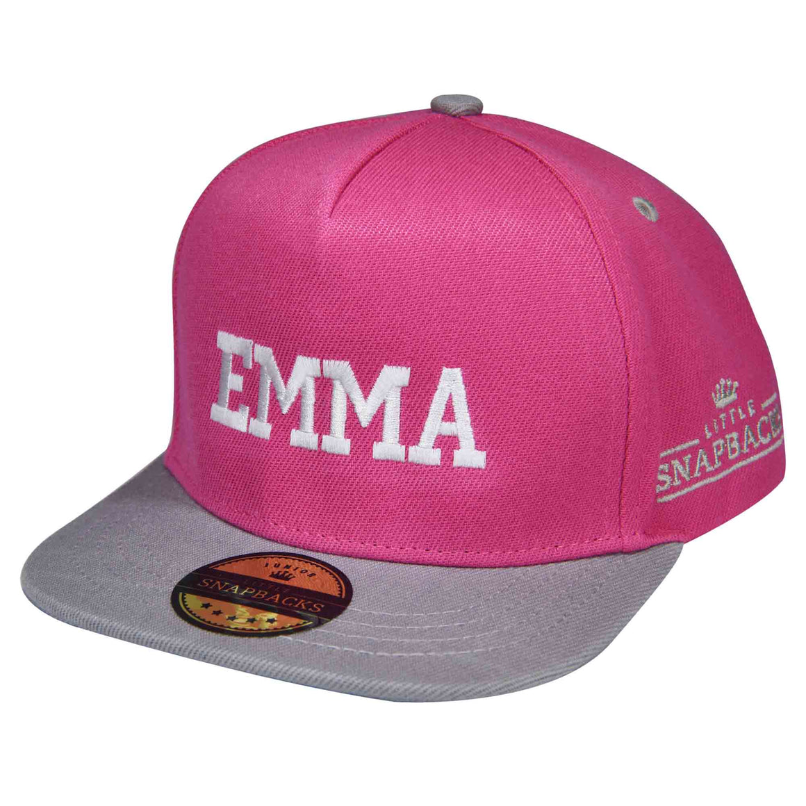 Little Snapbacks Personalised Kids Hats - Hot Pink & Grey Snapback
