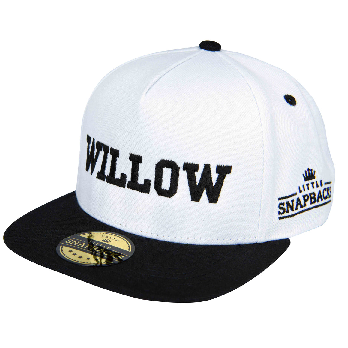 Little Snapbacks White Snapback, Black Thread